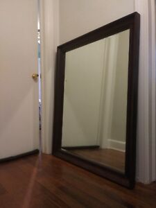 Large Mirror With Wood Frame