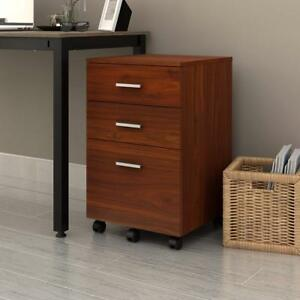 Devaise 3 Drawer Wooden Mobile Filing Cabinet Beside Table As Office