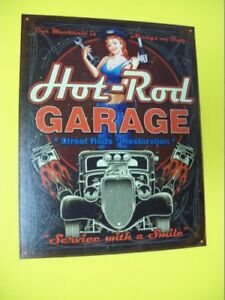 Tin Metal Gasoline Service Station Man Cave Advertising Decor Gas Oil Hot Rod