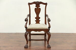 Georgian Style Vintage Carved Desk Or Library Chair New Upholstery 29637