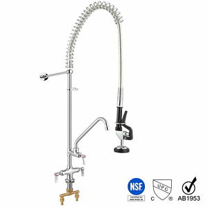 Aquaterior Cupc Nsf Commercial Pull Down Pre rinse Faucet 12 Add on Faucet