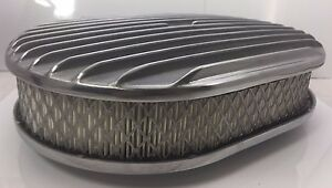12 Oval Finned Air Cleaner Classic Polished Aluminum Nostalgia Chevy Ford