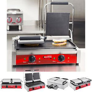 Pro Double Smooth Top Bottom Commercial Panini Sandwich Grill Press Heavy duty