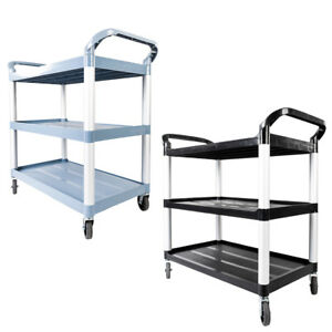 3 Tier Rolling Service Cart Kitchen Storage Plastic Utility Trolley Dining Room