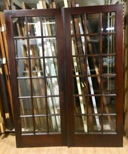 Vintage Set Of Beveled Glass French Doors Very Nice 66 X 83 10417
