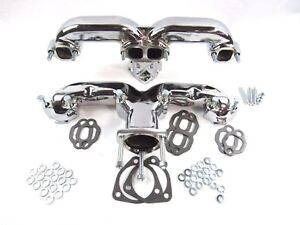 Chevy 305 350 383 Cast Iron Ram Horn Exhaust Manifolds Chrome Corvette Bph 5002c
