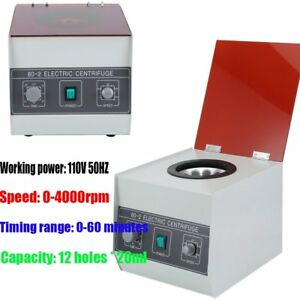 Electric Speed Control Centrifuge Machine Lab Laboratory Medical 80 2 4000 Rpm