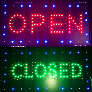 Us Plug Bright Led 2 In1 Open Closed Store Shop Business Sign Display Neon