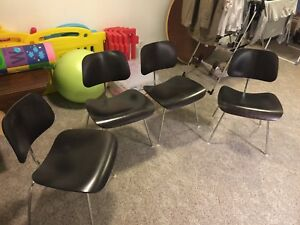 4 Eames Plywood Dining Chair With Metal Legs By Herman Miller