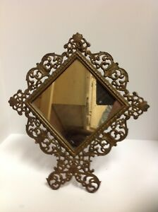 Antique Victorian Metal Ornate Vanity Mirror