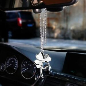 Lucky Clover Auto Rear View Mirror Decoration Hanging Pendant Metal Car Ornament