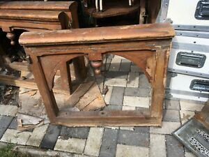 Vtg Architectural Salvage Large Wood Carved Hand Rail Brackets Church Gothic