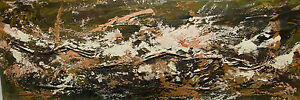 Lg 40in W Signed Button Abstract Expressionist Mid Century Modern Oil Painting
