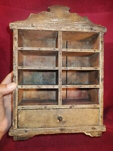 Early 1900 Antique Smaller Wood Pine Shelf Organizer Original Paint Nice