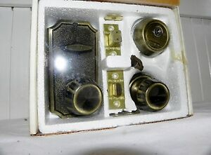 Vtg Mid Century Weslock Dead Bolt Deadbolt Antique Brass Lock Set New