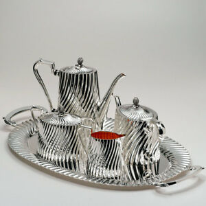 Cazenovia Abroad By Topazio Silver Plated Coffee Teaset With Tray From Portugal