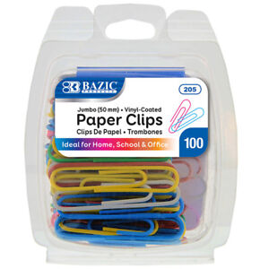 Bazic Jumbo 50mm Color Paper Clips 100 pack