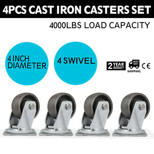 4 Swivel Cast Iron Casters Set Of 4 Freight Terminals Flexible Heavy Duty