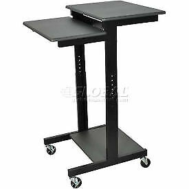 Luxor Black Prestige 3 shelf Computer Presentation Workstation Chart Lot Of 1