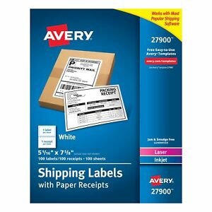 Avery White Shipping Labels With Paper Receipts 5 1 16