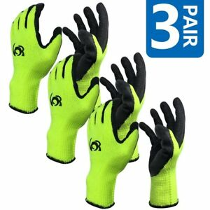 3 Pairs Work Gloves Cotton Textured Rubber Latex Coated For Construction large