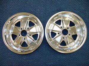 Genuine Porsche Oem Pair Of Pristine 911 930 Polished Fuchs 8 X 16 Et 11 Ruf