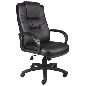 High Back Executive Office Chair With Arms Leather Black Lot Of 1