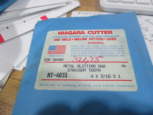 Niagara Cutter Metal Slitting Saw Straight Tooth Mt 4031 4 X 3 16 X 1