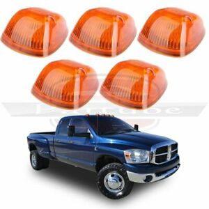 5x For 1994 1998 Dodge Ram Amber Cab Top Clearance Light Covers Base Housing