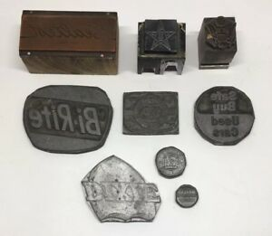 Lot 9 Antique Letterpress Block Wood metal Stamps Advertising Bi rite Dixie Tv