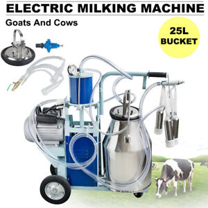 25l Electric Milking Machine Bucket Wheels Piston Vacuum Pump For Goats Cows Fda