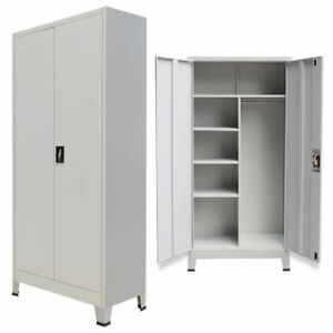 Metal Storage Office Cabinet 2 Door Cupboard Wardrobe Shelves Locker Steel Grey