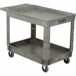 Plastic 2 Tray Shelf Service Utility Cart 44 X 25 1 2 5 Rubber Casters