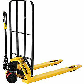Pallet Jack Truck With Installed Cargo Backrest 5500 Lb Cap 27 X 48 Lot Of 1