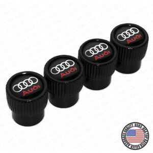Universal Black Chrome Car Wheels Tyre Tire Air Valve Caps Stem Cover A Emblem