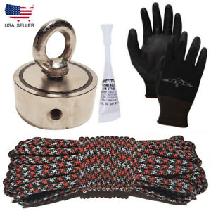 Magnet Fishing Kit 800lb 2 Side Neodymium Magnet Gloves 100ft 600lb Test Rope