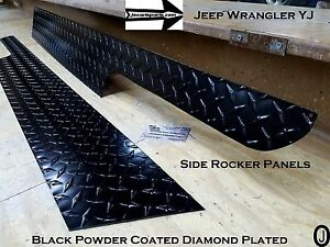 Jeep Wrangler Yj Aluminum Powder Coated Diamond Plate Side Rocker Panel Set  6