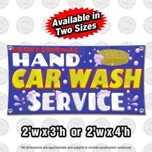 Hand Car Wash Banner Display Open Auto Shop Sign Suds Sponge Pressure Washer Pro