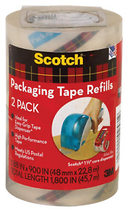 2 Scotch Clear Packing Shipping Tape Refill Heavy Duty Mailing Boxes Sealing
