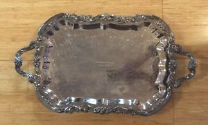 Vintage Fb Rogers Co 25 14 1 2 Footed Silver Plated Tray