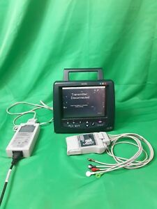 Philips Telemon B Monitor M2636b Transmitter With Ecg Cables M2601a