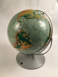 Nystrom Sculptural Raised Relief Double Axis 12 Globe On Metal Base