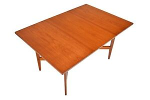 English Mid Century Modern Rectangular Drop Leaf Teak Dining Table By Remploy