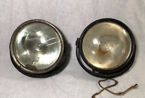 Pair Of Antique Automobile Head Lamps Headlights Mirrors