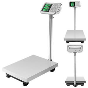 660lbs 300kg Lcd Digital Floor Scale Postal Shipping Platform Stainless Steel