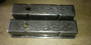 Tall Small Block Chevy Sbc Flame Aluminum Valve Covers Used
