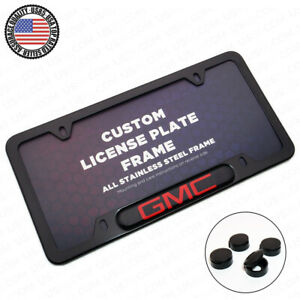 Black Stainless Steel Front Rear Emblem License Plate Frame Cover Gift Gmc