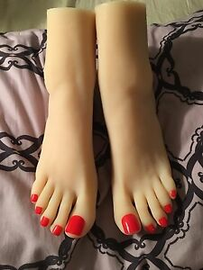 New Girls Womens Dancer Feet Silicone Mannequin Foot Model Red Toe Nails Size 8