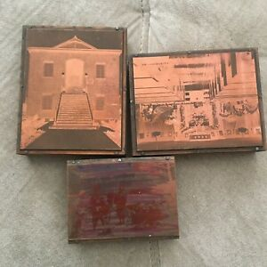 Vintage Copper Letterpress Wood Printing Block 3 Photographs Set Seattle Japan