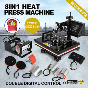 8in1 Combo T shirt Heat Press Transfer 12 x15 Machine 1000w Sublimation Hot
